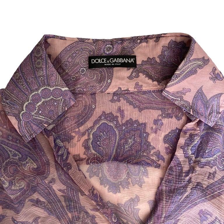 "Gray Dolce & Gabbana S/S 2000 ""Mix & Match"" Purple Paisley Shirt For Sale"