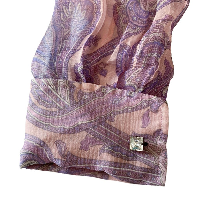 """Dolce & Gabbana S/S 2000 """"Mix & Match"""" Purple Paisley Shirt In Excellent Condition For Sale In Rome, IT"""