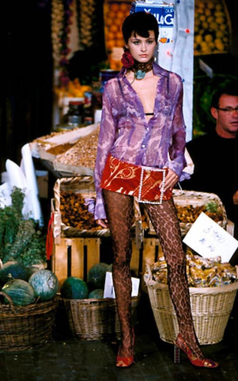 "Women's Dolce & Gabbana S/S 2000 ""Mix & Match"" Purple Paisley Shirt For Sale"