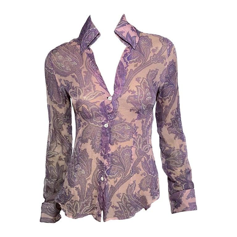 "Dolce & Gabbana S/S 2000 ""Mix & Match"" Purple Paisley Shirt For Sale"