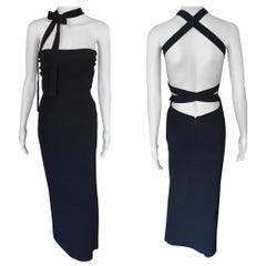 Dolce & Gabbana S/S 2001 Runway Backless Neck Tie Bodycon Black Dress
