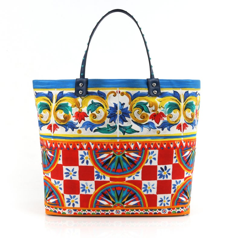 """DOLCE & GABBANA S/S 2013 """"Beatrice"""" Multi-color Carretto Maiolica Embellished Canvas Shopper Tote Bag NWT   Estimated Retail: $2,175   Brand / Manufacturer: Dolce & Gabbana Collection: Spring / Summer 2013 Manufacture Style Name: Beatrice  Style:"""