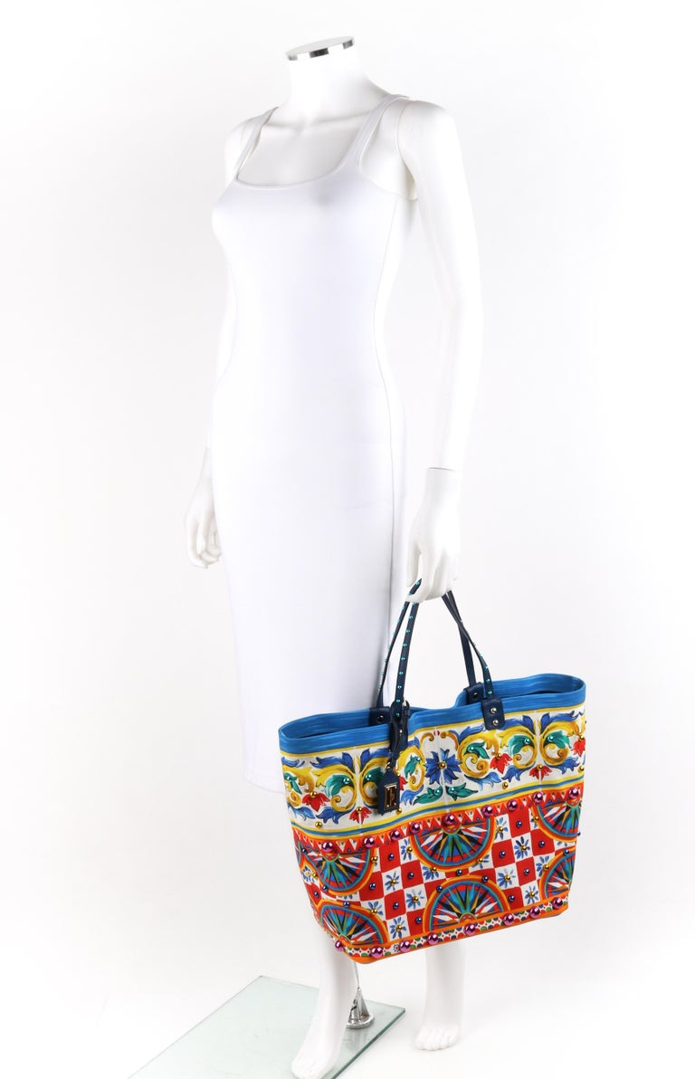 """Beige DOLCE & GABBANA S/S 2013 """"Beatrice"""" Carretto Maiolica Studded Canvas Tote NWT For Sale"""