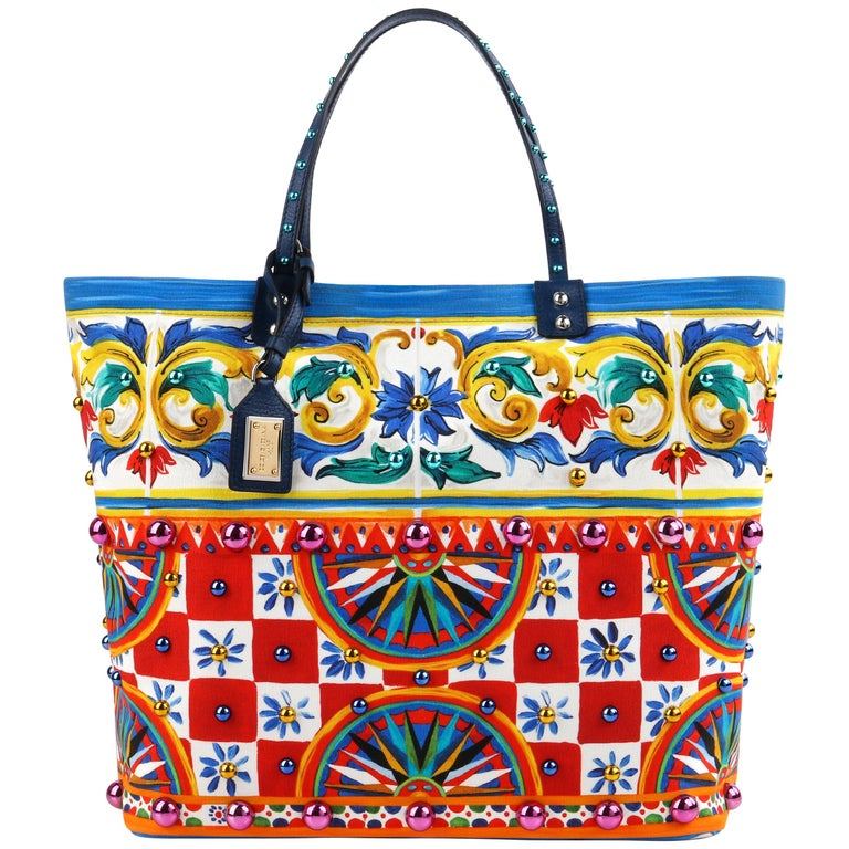 """DOLCE & GABBANA S/S 2013 """"Beatrice"""" Carretto Maiolica Studded Canvas Tote NWT For Sale"""