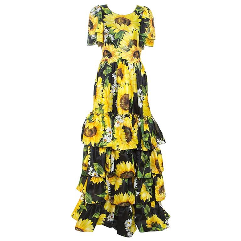 Dolce & Gabbana Sartoria Black Sunflower Printed Silk Embellished Dress M