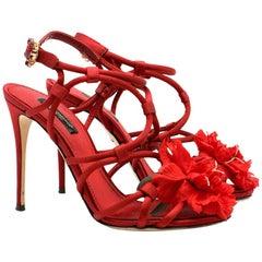 Dolce & Gabbana Satin Strappy Flower Embellished Sandals IT 36