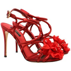 Dolce & Gabbana Satin Strappy Flower Embellished Sandals IT 36