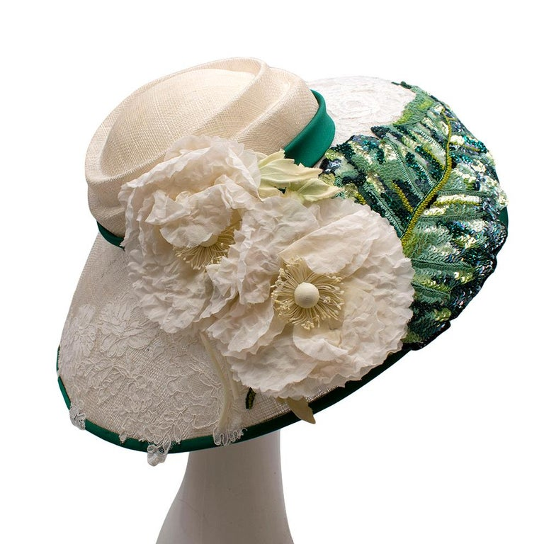 Dolce & Gabbana Sequin & Lace Detailed Floral Embellished Raffia Hat  - Large leaf embellishment on the side of the hat with a mixture of green toned matte and shiny sequins with light green stalk beads - Raffia structured material in cream - Large
