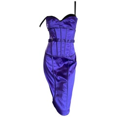 Dolce & Gabbana Sexy Neon Blue Vintage Corset Cocktail Dress with Leopard Lining
