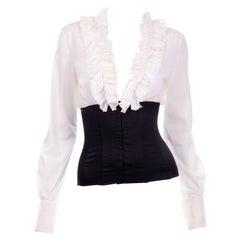 Dolce & Gabbana Sheer White Low V Ruffle Blouse w Black Corset Waist New w Tags