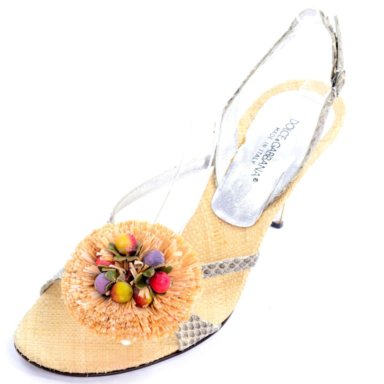 Dolce & Gabbana Shoes Raffia & Fruit Snakeskin Slingback Sandals Heels 37.5 In Good Condition For Sale In Portland, OR