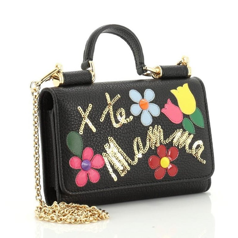 Black Dolce & Gabbana Sicily Wallet on Chain Embellished Leather Mini