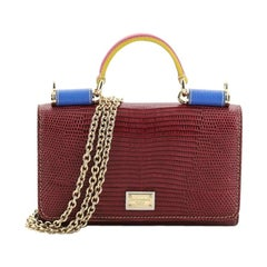Dolce & Gabbana Sicily Wallet On Chain Lizard Embossed Leather