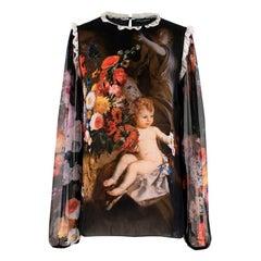 Dolce & Gabbana Silk Cherub Printed Blouse 40 IT
