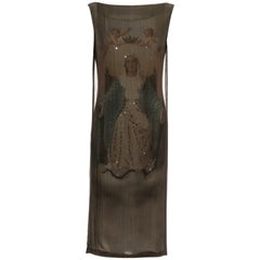 Dolce & Gabbana silk chiffon Virgin Mary print diamanté shift dress, ss 1998