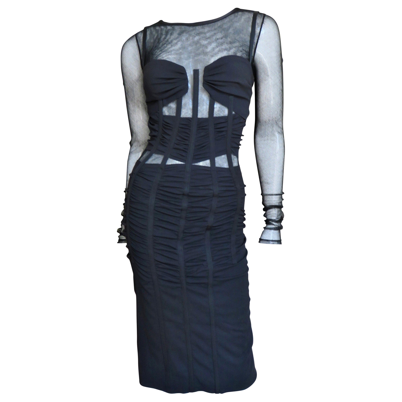 Dolce & Gabbana Silk Corset Dress with Sheer Panels