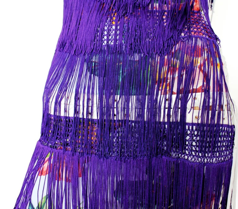 Women's Dolce & Gabbana Silk Fringe Lace-up Flapper Dress in