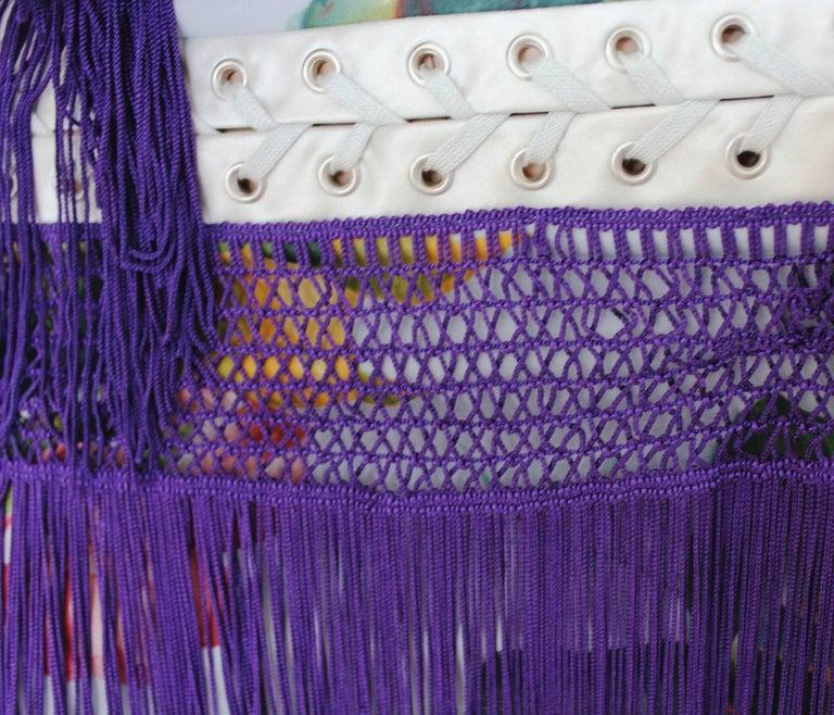Dolce & Gabbana Silk Fringe Lace-up Flapper Dress in