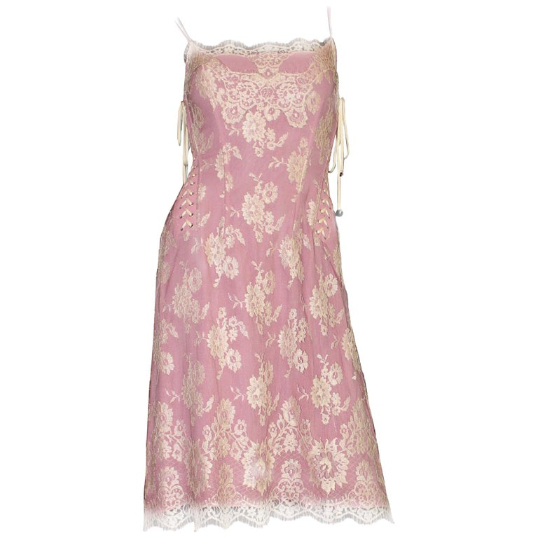 Dolce & Gabbana Silk & Lace Corset Dress with Laceup Details For Sale