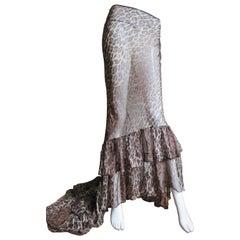 Dolce & Gabbana Silk Leopard Skirt with Train
