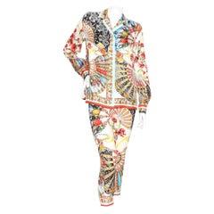 Dolce & Gabbana Silk Print Pants Suit