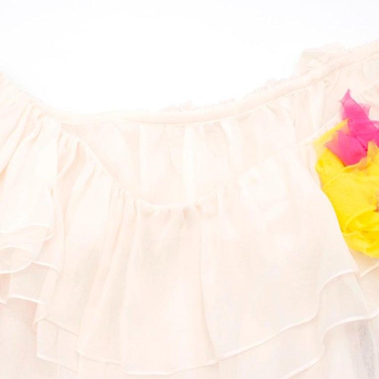 Beige Dolce & Gabbana silk ruffle dress IT 40  For Sale