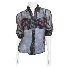 Dolce & Gabbana Silk Shirt with Matching Bra and Applique Wrap