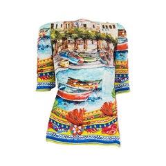 DOLCE & GABBANA silk SORRENTO Blouse Shirt 38 XS