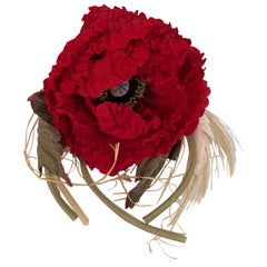 Dolce & Gabbana Silky Fabric Large Red Flower Pin Brooch