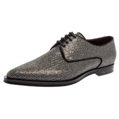 Dolce & Gabbana Silver And Black Glitter Fabric Derby Size 43
