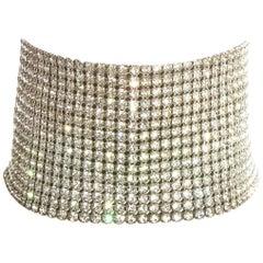 Dolce & Gabbana silver crystal mesh choker necklace, ss 2000