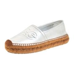Dolce & Gabbana Silver Leather Slip On Flat Espadrilles Size 39