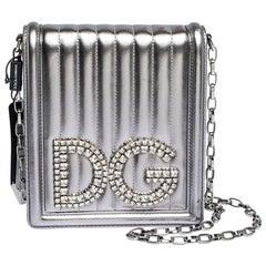 Dolce & Gabbana Silver Quilted Leather DG Girls Shoulder Bag