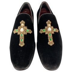 DOLCE & GABBANA Size 10 Black Velvet Gold Rhinestone Cross Tuxedo Loafers
