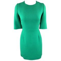 DOLCE & GABBANA Size 10 Green Wool Crepe Three Quarter Sleeve Shift Dress
