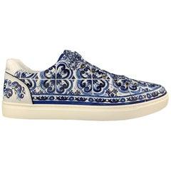 DOLCE & GABBANA Size 10.5 Blue & White Vietri Pottery Print Sneakers