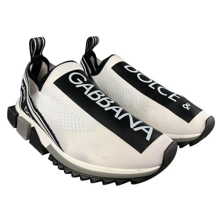 DOLCE & GABBANA Size 10White & Black Logo Tape Knit Sorrento Sneakers