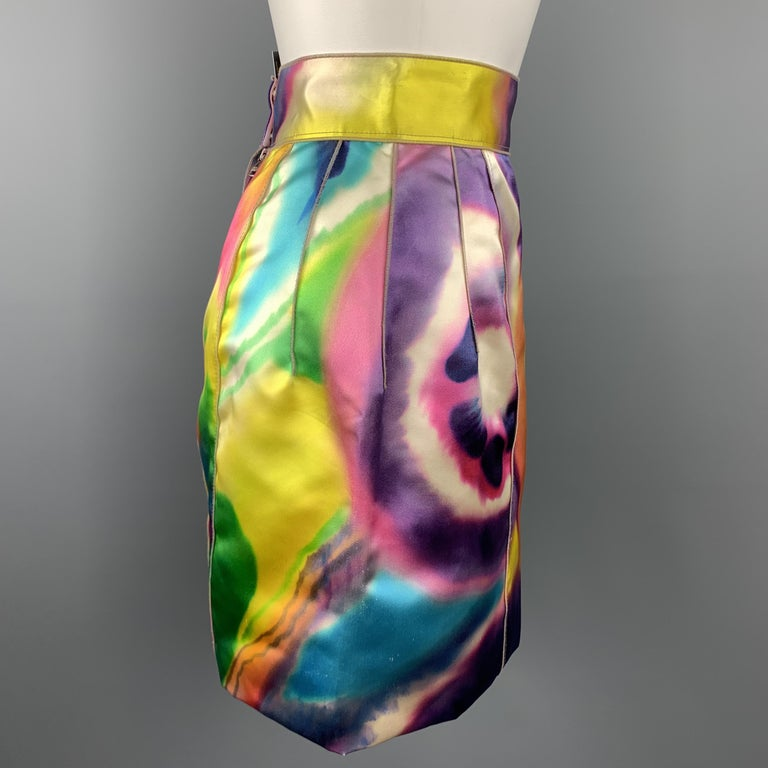 DOLCE & GABBANA Size 2 Multi-Color Print Silk Mini Skirt In New Condition For Sale In San Francisco, CA