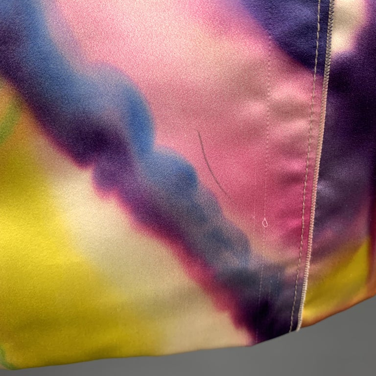 DOLCE & GABBANA Size 2 Multi-Color Watercolor Silk Satin Skirt In New Condition For Sale In San Francisco, CA