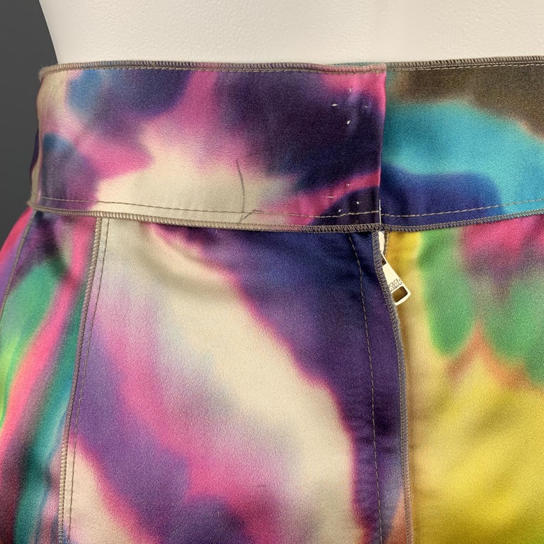 DOLCE & GABBANA Size 2 Multi-Color Watercolor Silk Satin Skirt For Sale 2
