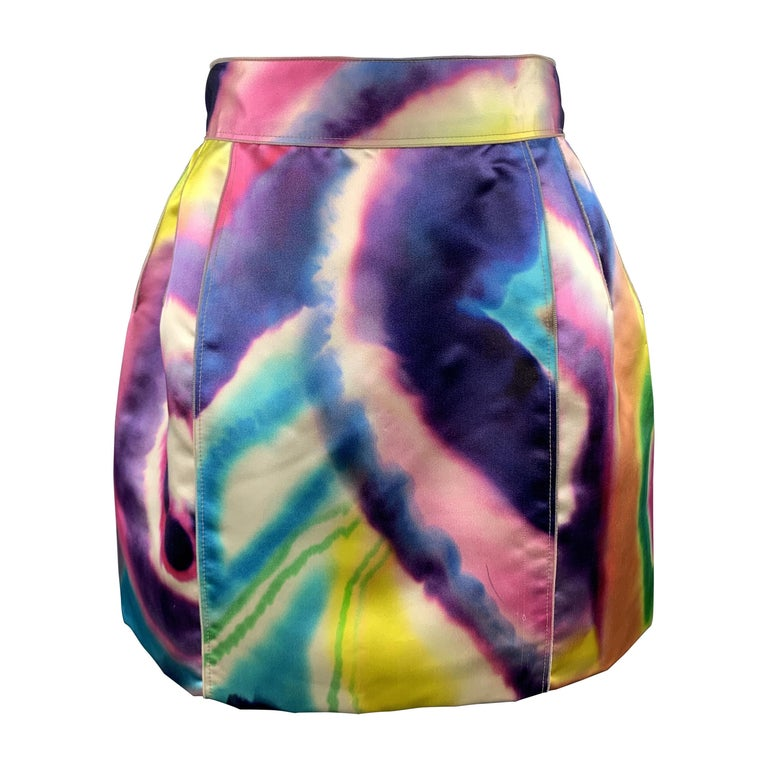 DOLCE & GABBANA Size 2 Multi-Color Watercolor Silk Satin Skirt For Sale