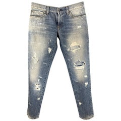 DOLCE & GABBANA Size 30 Blue Distressed Denim Zip Fly Jeans