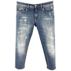 DOLCE & GABBANA Size 32 Blue Distressed Denim Zip Fly Jeans