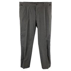 DOLCE & GABBANA Size 32 Charcoal Plaid Cotton Blend Tuxedo Dress Pants