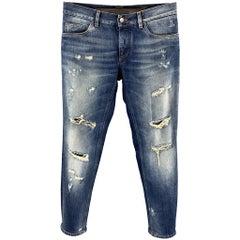 DOLCE & GABBANA Size 32 Indigo Distressed Denim Button Fly Jeans