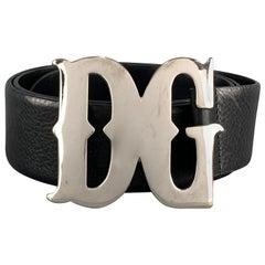 DOLCE & GABBANA Size 34 Black Leather SIlver Tone Western DG Buckle Belt