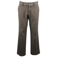 DOLCE & GABBANA Size 34 Grey & Brown Houndstooth Wool / Cotton Casual Pants