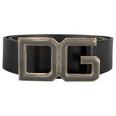 DOLCE & GABBANA Size 36 Black Leather Metal DG Buckle Belt