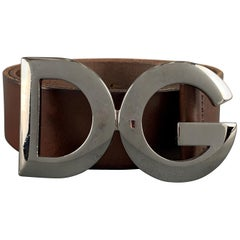 DOLCE & GABBANA Size 36 Brown Leather Dark Silver Metal DG Buckle Belt