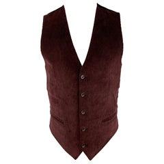 DOLCE & GABBANA Size 36 Burgundy Corduroy Buttoned Vest